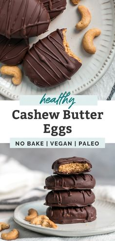 Like Reese's Chocolate Peanut Butter Eggs, but way better and actually healthy! These easy homemade Cashew Butter Eggs are made with 6 simple ingredients like dark chocolate, all natural cashew butter, maple syrup, coconut flour and some optional superfood add-ins! They are a quick, easy, no bake sweet treat! Paleo, vegan, gluten free, dairy free and definitely a must for the upcoming Easter holiday or anytime you're craving a healthier chocolate dessert or snack. #chocolate #dessert