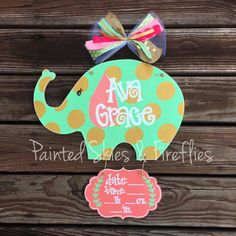 Hospital Door Hanger Boy Girl / Elephant / by paintedskyfirefly / nursery decor / baby shower Baby Door Hangers, Wooden Door Hangers, Elephant Birth, Baby Shower Gifts, Baby Gifts, Hospital Door Hangers, Business Baby, Baby Boutique, Painted Signs