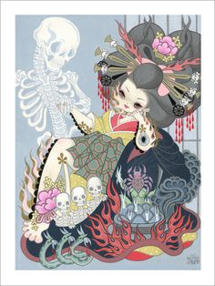 Jigoku Dayu (Hell Courtesan) by Junko Mizuno, a Japanese manga artist. Her drawing style has been described as Gothic kawaii or kawaii noir style. Art And Illustration, Illustrations, Geisha, Aya Takano, Yellena James, Art Magique, Goth Art, Lowbrow Art, Creepy Cute