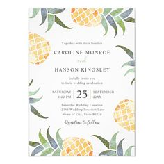 Elegant Tropical Watercolor Pineapple Summer Beach Wedding Invitations Modern Template. Feature beautiful tropical pineapples, green leaves with a orange fruit. Great for inviting your guests to your wedding celebration. Great for all wedding parties, garden, tropical, beach, destination, Hawaii, Florida, summer etc. Beautiful Wedding Invitations, Beach Wedding Invitations, Elegant Wedding Invitations, Birthday Invitation Templates, Birthday Party Invitations, Invites, Wedding Dj, Wedding Parties, Wedding Cards