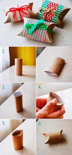reutilizando un cartón de papel higiénico para convertirlo en un envoltorio de regalo