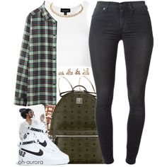 Forest by oh-aurora on Polyvore featuring polyvore, fashion, style, Uniqlo, Topshop, 7 For All Mankind, NIKE, MCM, Forever 21 and Michael Kors