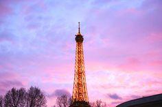 Eiffel Tower at sunset  Checkout our Paris Postcard subscription service #eiffeltower #paris