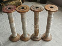 antique wooden bobbins