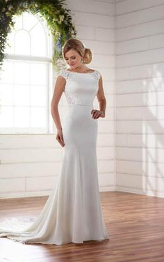 D2238 Modern Column Dress with Lace Side Cut-Outs by Essense of Australia