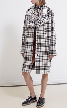 Tartan Wool Oversize Coat by Carven for Preorder on Moda Operandi