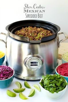 Slow Cooker Mexican Shredded Beef -is perfect for all sorts of south of the border entrees; tacos, enchiladas, burritos, tamales, Mexican salads, etc. And the slow cooker does most of the work!