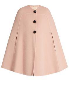 Best 11 Roksanda Ofili oversized-button wool and mohair-blend cape – SkillOfKing. Pink Wool Coat, Wool Cape, Wool Poncho, Cape Jacket, Cape Coat, Light Pink Coat, Mode Kimono, Hijab Fashion, Fashion Outfits