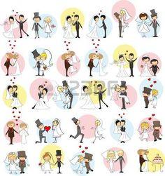 Conjunto de im?genes del doodle de la boda, la novia y el novio en el amor photo
