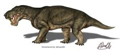 Inostrancevia, a carnivorous synapsid from the late permian. It was a reptile quite closely related to mammals, except that it didn't have fur. Inostrancevia and its family members boasted the first set of saber teeth in prehistory which it used to kill prey with