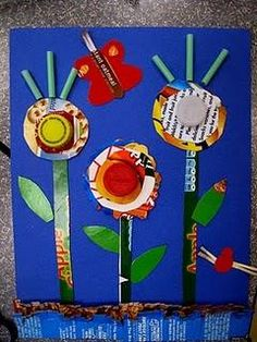 spring garden craft made of recycled materials