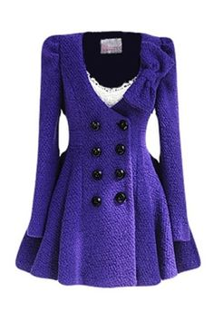 Double Buttons Bowknot Purple Woolen Coat by adele