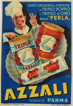 Azzali Parma original Italian food poster from 1940 by Emka. Super Concentrato Di Pomodoro in Triplo. Vintage advertisement for tomato paste and canned tomatoes.