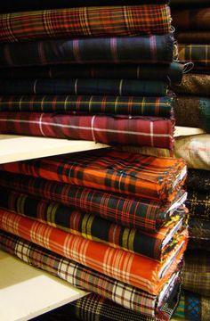 Bolts of Tartan at Britex Fabrics, San Francisco.