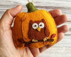"""""""Wool felt pumpkin ornaments for Fall decorations - with owl and the leaves motif Listing is for 1 ornament. Motifs of Woodland animals/scenery in this collection: - fox - squirrel - hedgehog - owl - brown bear - mushrooms Ornaments are made from pure wool felt and wool blend felt. Size of ornament is about 8 x 9 cm ( 3 1/8 \"""" x 3 1/2 \"""") ---------------------------------------------------------------------------- Please NOTE Recent changes to default shipping options: - European Union and UK or Flower Ornaments, Felt Christmas Ornaments, Heart Ornament, Rustic Country Wedding Decorations, Fall Decorations, Thanksgiving Decorations, Handmade Decorations, Pumpkin Ornament, Red Sunflowers"""