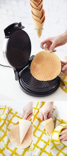 DIY Waffle cones for ice cream, frozen yogurt, sorbet and fruit salad. Ideas and inspiration for cafes, delis, ice cream parlours and restaurants. Delicious Desserts, Dessert Recipes, Yummy Food, Waffle Maker Recipes, Recipe For Waffle Cones, Waffle Cone Recipe Without Maker, Waffle Cone Maker, Homemade Ice Cream, Snacks