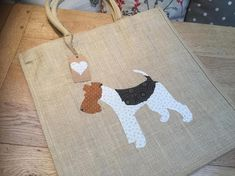 Luxury jute shopping bag featuring a Wire Fox Terrier dog