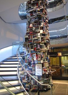 Tower of Abraham Lincoln books in the lobby of the new Ford's Theatre Center for Education and Leadership in D.C.