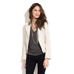 white leather jacket, slouchy grey shirt, black jeggings, gold chain necklace... yep I own all of this!