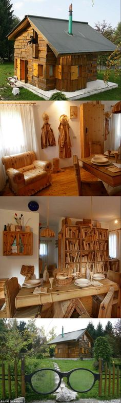 Livio De Marchi is a bonkers-talented Venetian woodworker and sculptor who has created- wait for it- ENTIRE HOUSES made of hand-carved book sculptures. There's one in Tambre D'Alpago, Italy, Germany, and Japan, and every aspect of the houses are book-themed.