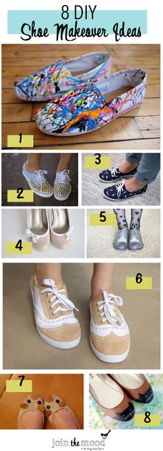 Join the Mood: 8 DIY SHOE MAKEOVER IDEAS..........  1.Splatter sneaks 2.Studded spiked sneakers 3.Birds sneakers 4.Loop high heles 5.Shoe fringe 6.Oxford shoes 7.Mouse ballet flats 8.Cat toe shoes