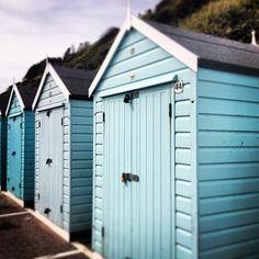 Blue Beach Huts in Bournemouth