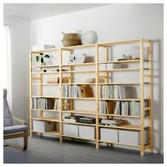 IKEA - IVAR, 3 section shelving unit, Untreated solid pine is a durable natural material that can be painted, oiled or stained according to preference.You can move shelves and adapt spacing to suit your needs.You can personalize the furniture even more by staining or painting it your favorite color.