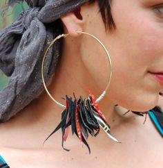 Scrappy Leather Hoop Earrings by coralanidesigns on Etsy, $34.00