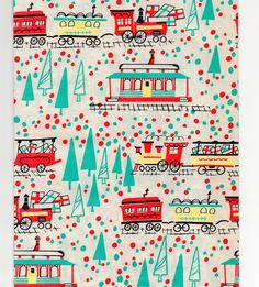 Old Wrap No.1: a jaunty, gift laden train. Want to make these into flannel sheets for my son! How cute Vintage Christmas Wrapping Paper, Vintage Christmas Images, Christmas Gift Wrapping, Christmas Paper, Retro Christmas, Vintage Holiday, Christmas Presents, Vintage Cards, Vintage Paper