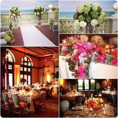 Beautiful beach-inspired wedding .... Ceremony on the Ocean Terrace as the sun set & dinner in The Beach Club