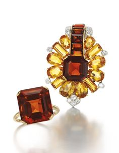 Citrine and diamond brooch and ring, Cartier, 1930s The brooch of palmette design, set with step-cut and pear-shaped citrines of varying tones, accented with circular-cut diamonds, signed Cartier, maker's mark, one citrine deficient, fitted case stamped Cartier; the ring set with a step-cut citrine, size O, signed Cartier.