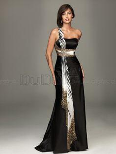 Sheath/Column One shoulder Sweep Little Black/Evening Dresses With Animal Print Criss-cross, Little Black Dresses, Evening Dresses