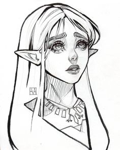 art and sketches Elf Drawings, Art Drawings Sketches, Cute Drawings, Fantasy Drawings, Drawing Faces, Character Sketches, Character Drawing, Art Reference Poses, Design Reference