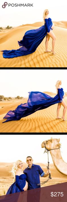 Royal Blue Maternity dress with extended train Like new! Gorgeous Royal blue chiffon maternity gown with open split to show off your baby bump!. Off the shoulder long sleeve with yards and yards of flowing material for that wind look! Used Once last month on my trip to Dubai where I took my pictures in the middle of the dessert! It's a size Small but it's stretch can fit larger! I'm a size D (bra size 34-36) Dresses Maxi