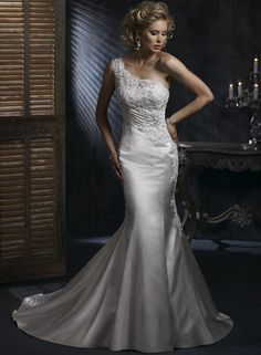 Cheap Mermaid/Trumpet One-Shoulder Satin Wedding Dresses With Applique/Beading (CAB1896) - CA$ 209.99