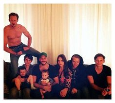 All 8 of actor Stellan Skarsgard's children his 7 sons and a daughter: Alexander, Sam holding Ossian, Gustaf holding Kolbjorn, Eija, Valter, and Bill.
