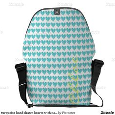 turquoise hand drawn hearts with name messenger bag