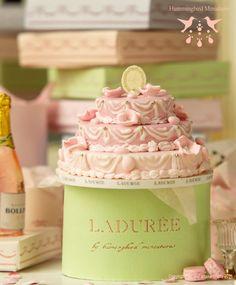 Miniature French Pink Laduree Wedding Cake for a Blushing Bride! Love this website!