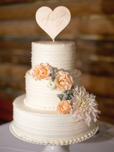 Sweet & Romantic Wedding Cake -- As Seen On http://www.StyleMePretty.com/2014/04/07/rustic-farm-to-table-wedding-in-montana/  Jeremiah And Rachel Photography - jeremiahandrachel.com