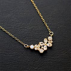 CRYSTAL FLOWER NECKLACE Gold Filled Necklace Unique by MissDiary