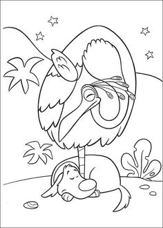 Dog And Bird Are Sleeping Coloring Page From UP Select 28436 Printable Crafts Of Cartoons Nature Animals Bible Many More