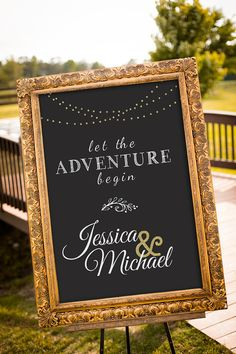 Black Gold Party Let the Adventure Begin! An elegant, printable chalkboard wedding sign to welcome your guests on your wedding day! PLEASE READ BELOW CAREFULLY:This listing is for a PRINTABLE large wedding sign for you to print on your own. (printing tips Black And Gold Party Decorations, Black Gold Party, Gold Wedding Decorations, Instagram Wedding Sign, Wedding Hashtag Sign, Wedding Signage, Instagram Sign, Wedding Chalkboards, Mariage