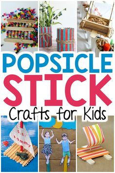 Popsicle Stick Crafts for Kids - Stuck inside on a rainy day and need something for the kids to do? Ditch the screens and give a fe - Popsicle Stick Crafts For Kids, Crafts For Teens To Make, Fun Arts And Crafts, Popsicle Sticks, Craft Stick Crafts, Crafts To Do, Projects For Kids, Kid Crafts, Popsicle Stick Birdhouse