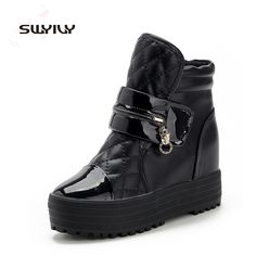33.83$  Watch here - http://ali1g8.shopchina.info/go.php?t=32568805626 - Platform Winter Sneakers Ankle Shoes Women's Leisure Zipper Black White Warm Casual Waterproof Boots Size 35-39 33.83$ #magazineonlinebeautiful