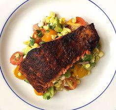 Blackened Salmon with Corn, Tomato, and Avocado Salad  - Delish.com