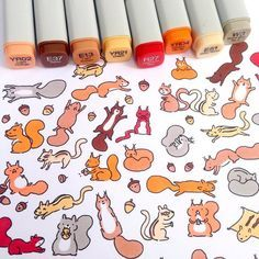 Happy #squirrel #doodle  #squirrels are my dad's favorite animals  So I drew him some for his birthday  #kawaii #cute #copicmarkers #sketchbook #fall by kirakiradoodles
