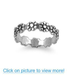 Sterling Silver Daisy Flower Infinity Ring (Size 5 - 9)