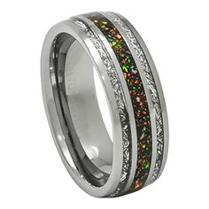 Tungsten Ring Opal and Imitated Meteorite Wedding Band Size 7 to 13 Dome Top wedding bands Opal Tungsten Ring with Meteorite Inlay for Wedding Band or Gift Size 7 to 13 Meteorite Wedding Band, Tungsten Carbide Wedding Bands, Meteorite Ring, Tungsten Rings, Ring Ring, Wedding Band Sets, Wedding Rings, Boho Wedding, Wedding Cakes