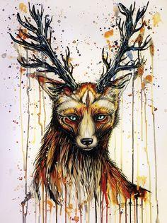 """God of the forest"" Art Print by PeeGeeArts Monster House, Forest Art, Community Art, Moose Art, Art Gallery, Artsy, Ink, Art Prints, Artwork"