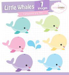 SUMMER SALE Little Whales Clipart, Whales Invitation, PNG files, Pastel Colors